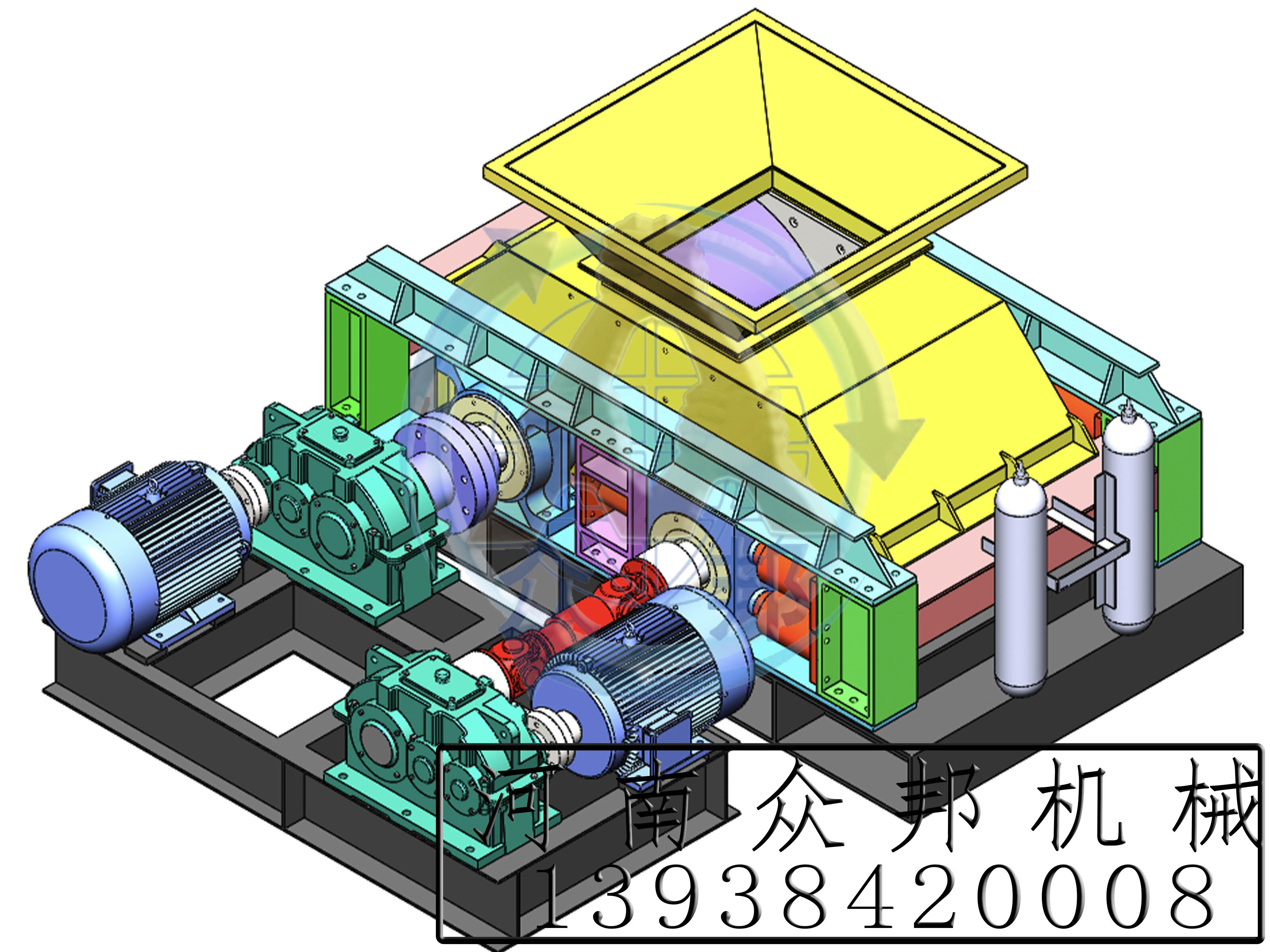 液压对辊制砂机3D图
